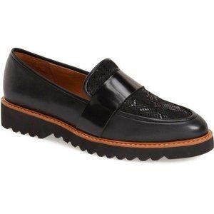 Halogen Emily Black Snake Leather Loafers 6.5